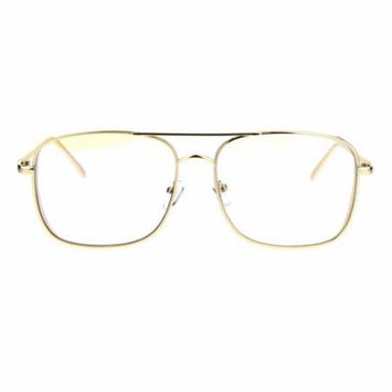 Retro Trend Mens Rectangular Side Visor Metal Aviator Clear Lens Glasses Light Gold