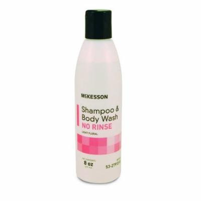 McKesson No-Rinse Shampoo and Body Wash 8 oz. Squeeze Bottle Light Floral Scent, 8 Pack