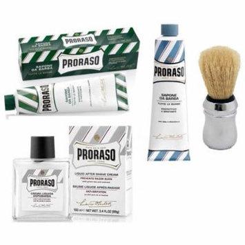 Proraso Shaving Cream, Menthol & Eucoplytus 150 ml + Proraso Shaving Cream, Aloe & Vitamin E 150 ml + Proraso Shaving Brush + Proraso Liquid After Shave Cream, 3.4 Ounce + Curad Bandages 8 Ct