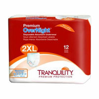 Tranquility Premium OverNight Adult Disposable Absorbent Underwear Heavy Absorbency XX-Large 62 - 80 Inch, 2 Bags of 12
