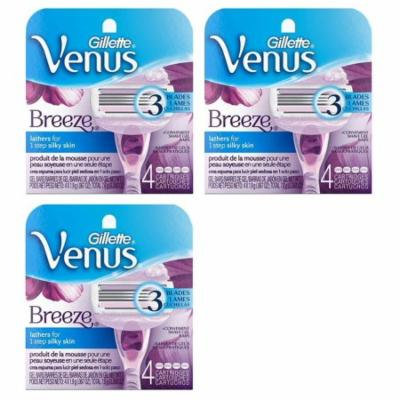 Gillette Venus Breeze Refill Razor Blade Cartridges, 12 Count (3 Packs of 4 Ct) + Makeup Blender