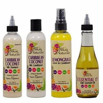 Alikay Naturals Caribbean Coconut Milk Shampoo + Conditioner + Lemongrass Leave In Conditioner + Essential 17 Hair Growth Oil 8oz