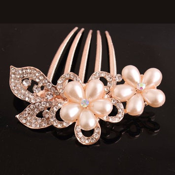 Feshionn Iobi Bouquet Crystal and Pearl Flower Gold Plated Hair Comb Gold
