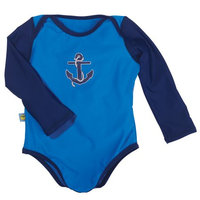 One Step Ahead Sun Smarties Baby Boy Swimsuit - Blue and Navy Nautical Design - UPF 50+ Long Sleeve Sun Protection