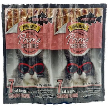 (2 Pack) Prime taste treats salmon jerky treat for cats, 35g (7x5g sticks)