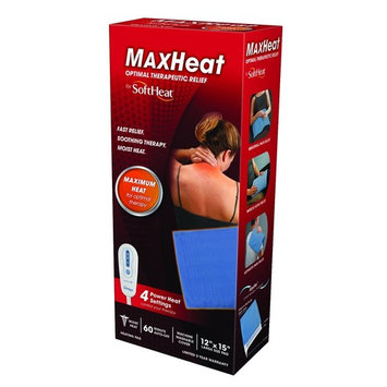 MaxHeat by SoftHeat Plus Heating Pad Moist/Dry, Full Size, 12-Inch by 15-Inch