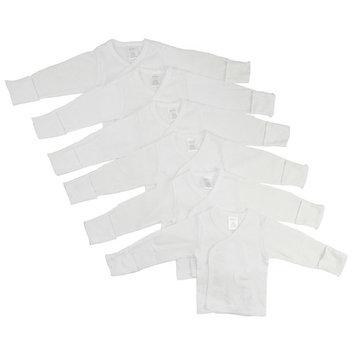 Bambini White Rib Knit White Long Sleeve Side-Snap Shirt 6-Pack