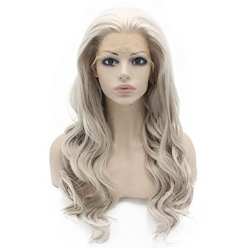 Mxangel Long Wavy Celebrity Lace Front Wig Half Hand Tied Heat Resistant Fiber Gray Lace Front Synthetic Hair Wig