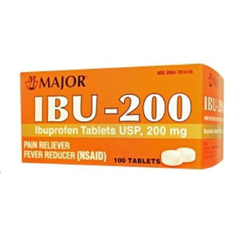 Major Ibuprofen-200, Tablet, White, 100ct (6 Pack)