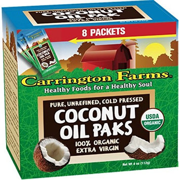 Carrington Farms Gluten Free, Unrefined, Cold Pressed, Virgin Organic Coconut Oil, 8 Packets (Pack of 6), Coconut Oil For Skin & Hair Care, Cooking, Smoothies – Packaging May Vary