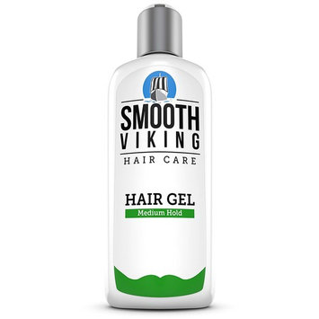 Hair Gel for Men – Medium Hold Styling Product – Adds Body & Shine – Good for All Hairstyles – Trendy, Curly, Straight, Wavy & Modern – Works on Wet, Dry, Thin or Thick Hair – Smooth Viking – 8 OZ