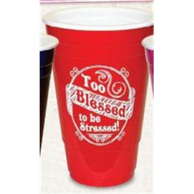 Divinity Boutique 92158 Solo Cup-Too Blessed to Be Stressed-Pink