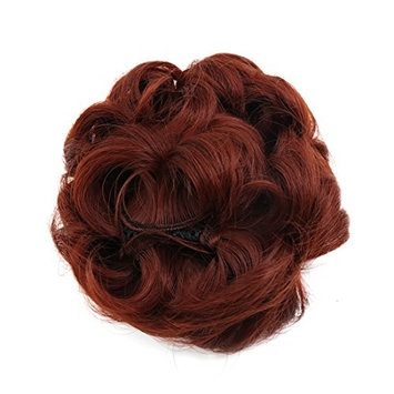 uxcell Synthetic Hair Chignon Curly Donut Bun Updo Ponytail Hairpiece Wig for Women 35#