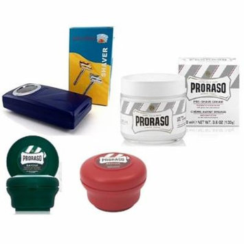 Proraso Shave Soap, Sandalwood 150 ml + Proraso Shave Soap Menthol and Eucalyptus 4 Oz + Shave Factory Safety Razor + Proraso Pre Shave Cream w/ Green Tea & Oatmeal 100 ml + LA Cross Tweezers 71817