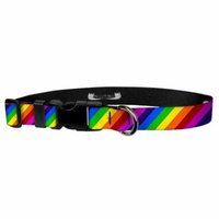 Deluxe Adjustable Dog Collar: Large, Rainbow Stripe, 1 inch Sublimated Polyester by Moose Pet Wear