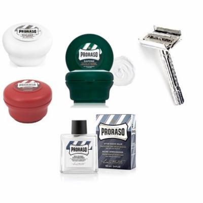 Proraso Shave Soap Sensitive 150ml + Shave Soap Sandalwood 150ml + Shave Soap Menthol and Eucalyptus 4 oz + Double Edge Razor + After Shave Balm Protective, 3.4 Fl Oz + Curad Dazzle Bandages 25 Ct.