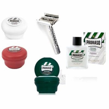 Proraso Shave Soap Sensitive 150ml + Shave Soap Sandalwood 150ml + Proraso Shave Soap Menthol & Eucalyptus 4oz + Double Edge Razor + Proraso Refreshing Aftershave Lotion + LA Cross Tweezers 71817
