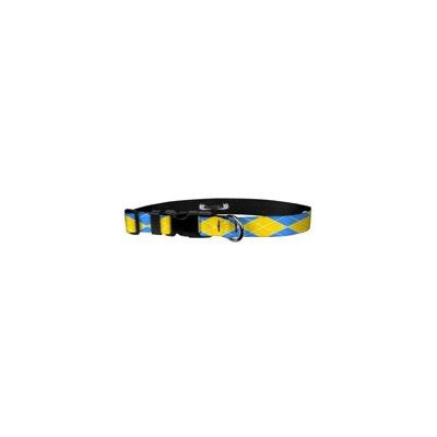 Deluxe Adjustable Dog Collar: Medium, Argyle:Yellow & Blue, 1 inch Sublimated Polyester by Moose Pet Wear