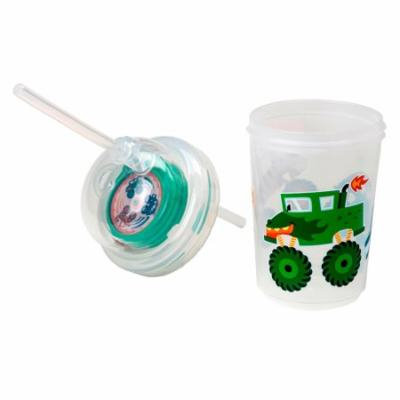Sip & Spin Fun Straw Cup, Monster Trucks Race When You Drink, by nuSpin Kids