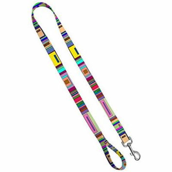 Deluxe Dog Leash: Geo Squares, 3/4 inch by 6 feet Sublimated Polyester by Moose Pet Wear