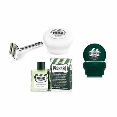 Proraso Shave Soap, Sensitive 150 ml + Proraso Shave soap menthol and eucalyptus 4oz + Double Edge Razor + Proraso Aftershave Lotion, Refresh, 100 ml + LA Cross Tweezers 71817
