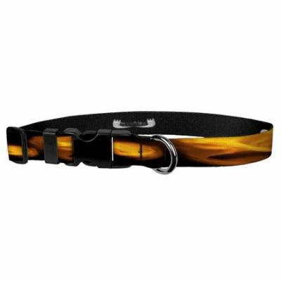 Deluxe Adjustable Dog Collar: Small, Fire, 3/4 inch Sublimated Polyester by Moose Pet Wear