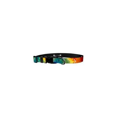 Deluxe Adjustable Dog Collar: Medium, Tie-Dye, 3/4 inch Sublimated Polyester by Moose Pet Wear