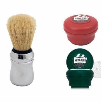 Proraso Shave Soap, Sandalwood 150 ml + Proraso Shave Soap Menthol and Eucalyptus 4 Oz + Proraso Professonal Shave Brush + LA Cross Tweezers 71817