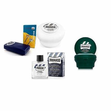 Proraso Shave Soap, Sensitive 150 ml + Proraso Shave soap menthol and eucalyptus 4oz + Shave Factory Safety Razor + Proraso After Shave Balm Protective, 3.4 Fluid Ounce + LA Cross Tweezers 71817