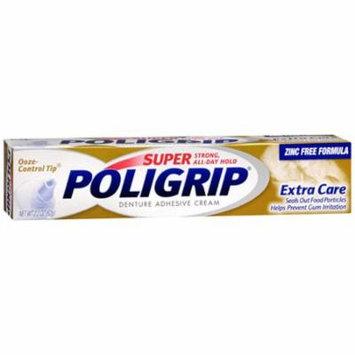 Super Poligrip Denture Adhesive Cream, Extra Care, 2.2 Oz, 2 Pack
