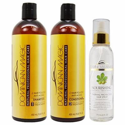 Dominican Magic Hair Follicle Anti-Aging Shampoo & Conditioner 16oz & thermal Protector Spray 6oz