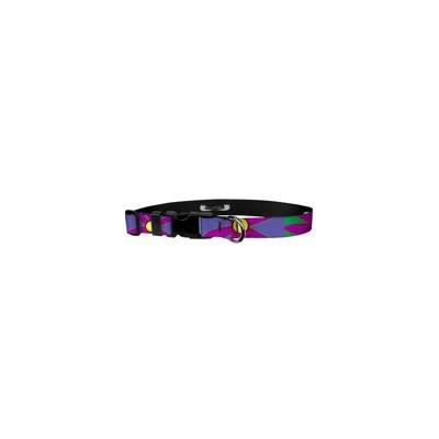 Deluxe Adjustable Dog Collar: Medium, Flower Power, 1 inch Sublimated Polyester by Moose Pet Wear