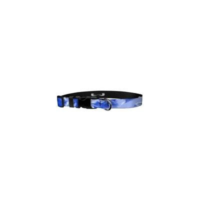 Deluxe Adjustable Dog Collar: Medium, Blue Smoke, 1 inch Sublimated Polyester by Moose Pet Wear