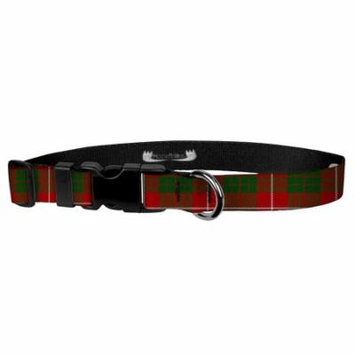 Deluxe Adjustable Dog Collar: Medium, Red Tartan, 3/4 inch Sublimated Polyester by Moose Pet Wear