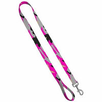 Deluxe Dog Leash: Pink Camo, 3/4 inch by 6 feet Sublimated Polyester by Moose Pet Wear