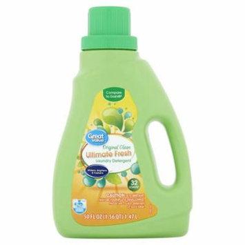 Great Value Ultimate Fresh Liquid Laundry Detergent, Original Clean Scent, 50 fl oz