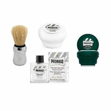 Proraso Shave Soap, Sensitive 150 ml + Proraso Shave soap menthol and eucalyptus 4oz + Proraso Professonal Shave Brush + Proraso Liquid After Shave Cream, 3.4 Ounce + LA Cross Tweezers 71817