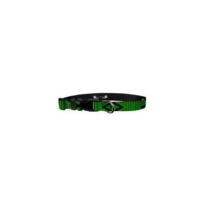 Deluxe Adjustable Dog Collar: Medium, Tiki Green, 1 inch Sublimated Polyester by Moose Pet Wear