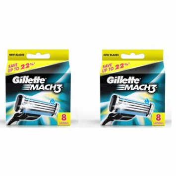 Mach3 Refill Cartridge Blades for Mach 3, 8 Ct. (Pack of 2) + Curad Dazzle Bandages 25 Ct.