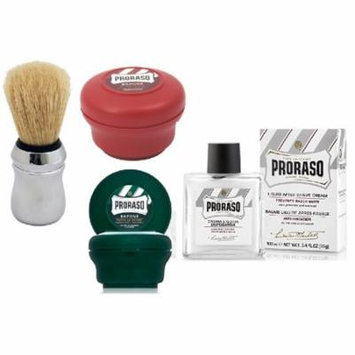 Proraso Shave Soap, Sandalwood 150 ml + Proraso Shave Soap Menthol and Eucalyptus 4 Oz + Proraso Professonal Shave Brush + Proraso Liquid After Shave Cream, 3.4 Ounce + LA Cross Tweezers 71817