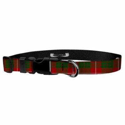 Deluxe Adjustable Dog Collar: Medium, Red Tartan, 1 inch Sublimated Polyester by Moose Pet Wear