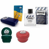 Proraso Shave Soap, Sandalwood 150 ml + Proraso Shave Soap Menthol and Eucalyptus 4 Oz + Shave Factory Safety Razor + Proraso After Shave Balm Protective, 3.4 Fluid Ounce + LA Cross Tweezers 71817