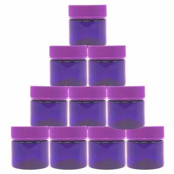 15 Gram Cosmetic BPA Free PET Plastic Empty Purple Containers, Round Top Screw Cap Lid, Small 15 ml Jars for Make Up, Eye Shadow, Nails, Powder, Gems, Jewelry. (10 Jars)