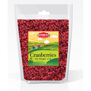 SUNBEST Dried Cranberries Unsulfured 4 Lb in Resealable Bag (64 Oz)