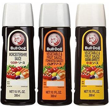 Bull-Dog Sauce Assort 3 kinds (Tonkatsu, Worcestershire, Chuno) 10.1 Fl. Oz. x 3