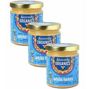 Heavenly Organics 100% USDA Certified Raw White Honey Certified Kosher, 12oz, 3 pack