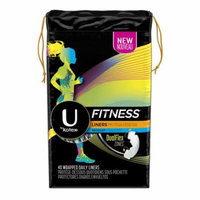 U by Kotex Fitness Panty Liners, Light Absorbency, Regular, Unscented 40 ct Pack