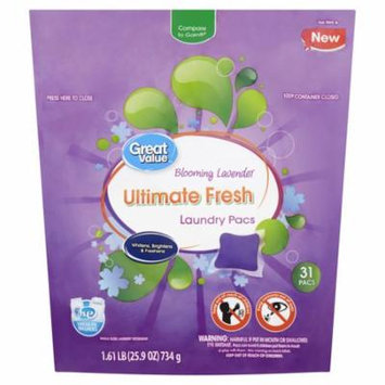 Great Value Ultimate Fresh Laundry Detergent Pacs, Blooming Lavender Scent, 1.61 lb, 31 Count