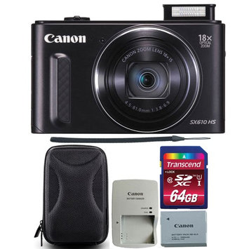 Canon PowerShot SX610 HS 20.2MP 18x Optical Zoom Wifi Digital Camera Black with 64GB Memory Card and Camera Case