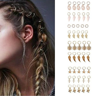 Fheaven 20 DIY Hip-Hop Women Girls Braid Hair Clip Fashion Gold Ring Hair Pin Accessory
